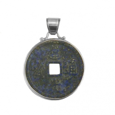 Lapis Chinese Coin Pendant