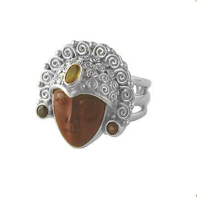 Red Jasper Goddess Ring with Garnet & Citrine