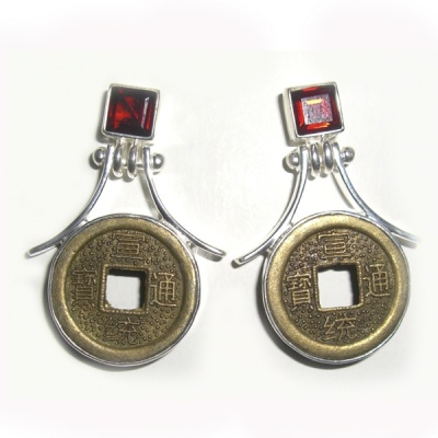 Chinese Coin and Garnet Post Earrings