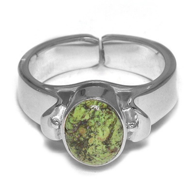 Gaspeite Silver Ring
