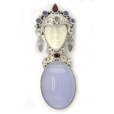 Goddess Pin-Pendant with Tanzanite, Iolite, Ruby and Moonstone