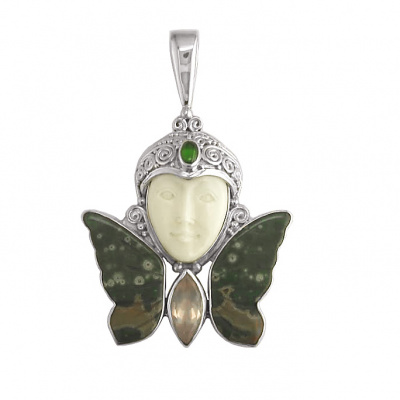 Goddess Pendant with Rose Quartz, Chrome Diopside and Ocean Jasper