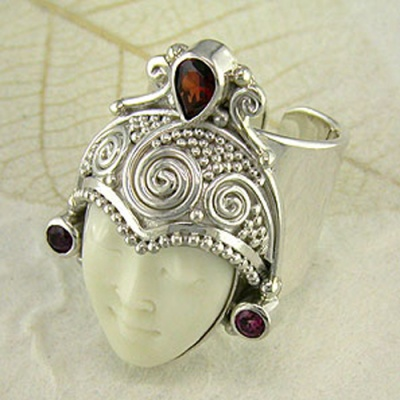 Goddess Ring with Garnet and Pink Tourmaline