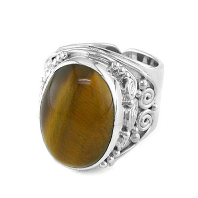 Large Oval Tiger Eye Silver Ring