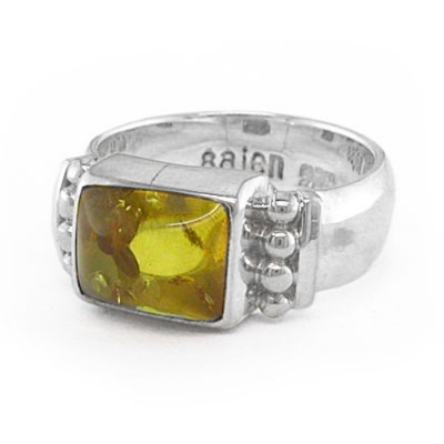 Sterling Silver Amber Recetangle Ring