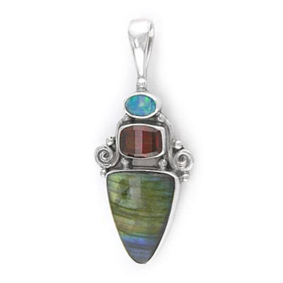 Labradorite Pendant with Opal and Garnet