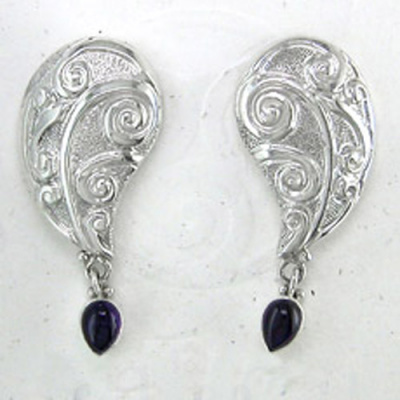 Amethyst Sterling Silver Repousse Post Earrings