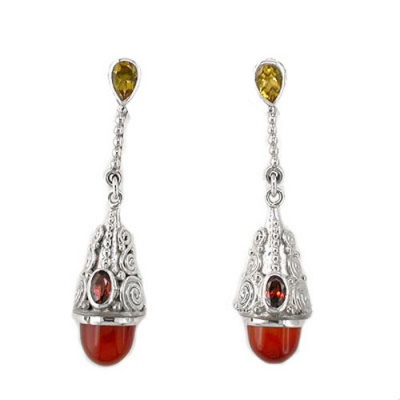 Carnelian Dangle Earrings with Citrine and Garnet