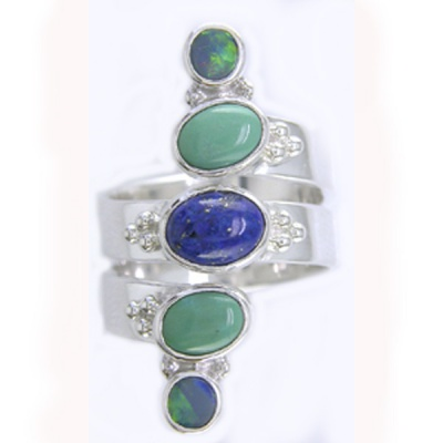 Turquoise, Lapis and Opal Ring