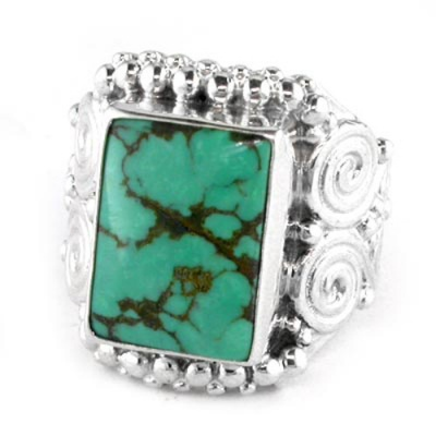 Sterling Silver Large Rectangle Turquoise Ring