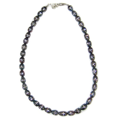 "Grey Pearl Bead Necklace with Inliad Swarovski Crystals 16"" + 2"" Ext"