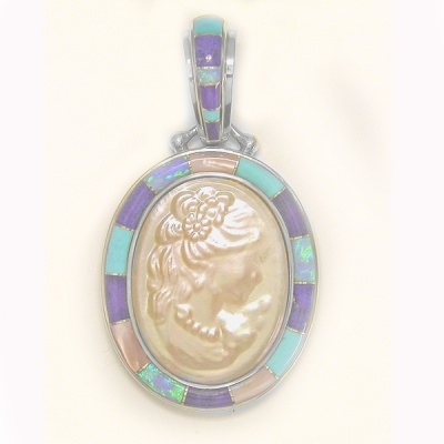 White Mabe Cameo, Turquoise, Created Opal, Lapis & Pink Shell Inlay Pendant