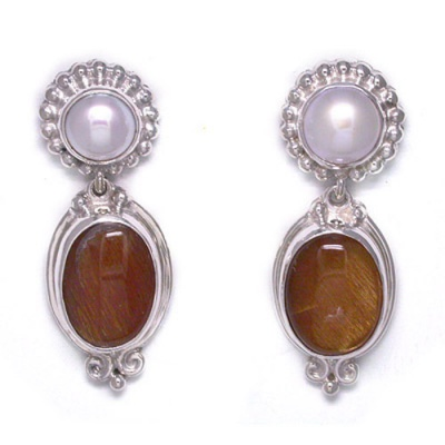 Pearl and Sunstone Post Earrings