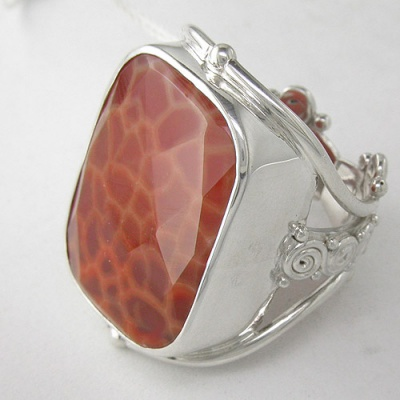 Sterling Silver Fire Agate Rectangle Ring