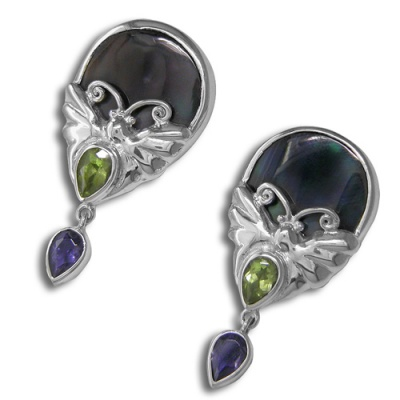 Black Mother of Pearl, Peridot & Iolite Butterfly Earrings