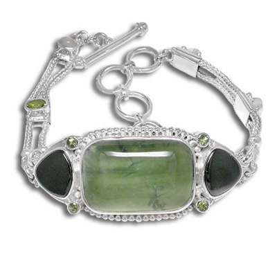 Green Tourmalinated Quartz, Onyx, Peridot and Moonstone Bracelet