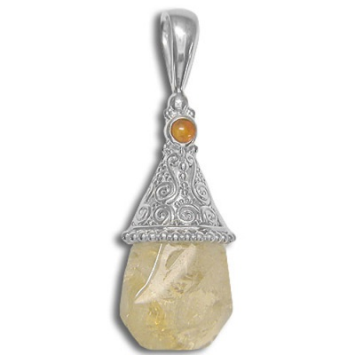 Citrine Nugget Pendant with Amber