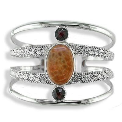 Fire Agate and Garnet Cuff Bracelet