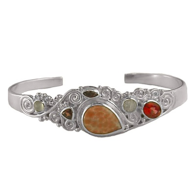 Fire Agate, Moonstone, Dreamsicle Orange Topaz, Garnet & Rainbow Moonstone Cuff Bracelet