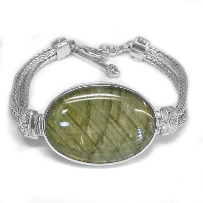 Labradorite Oval Bracelet with Sterling Silver Woven Band
