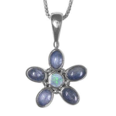 Kyanite and Opal Doublet Flower Pendant