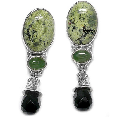 Russian Serpentine & Onyx Post Earrings