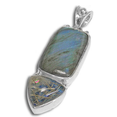 Labradorite Pendant with Lapis Backed Rutilated Quartz