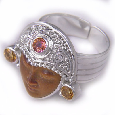 Tiger Eye Goddess Ring with Twilight Topaz and Citrine Ring