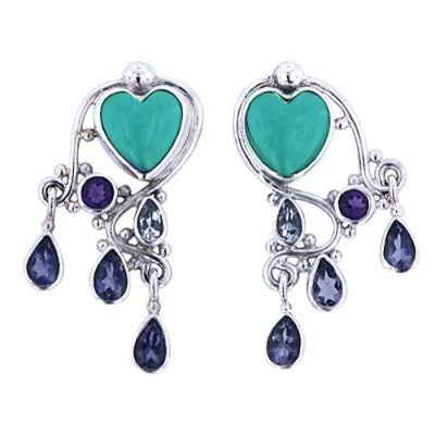 Turquoise Heart Earrings with Iolite, African Amethyst & Apatite