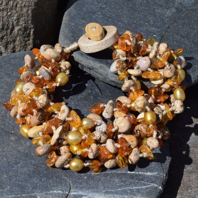 Picture Jasper, Amber and Golden Pearl Beaded Bracelet