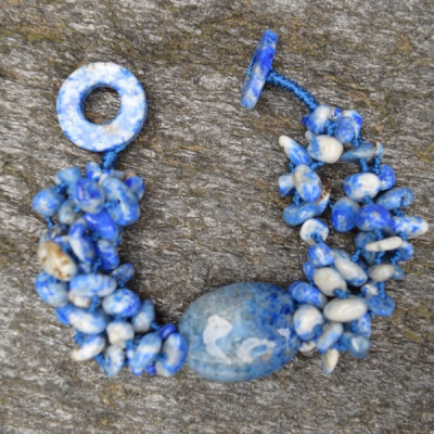 Lapis Beaded Bracelet with 20x25mm Nugget Center