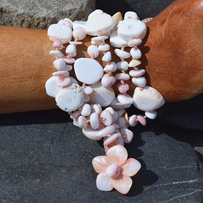 Six Strand Pink Conch Shell Beaded Bracelet