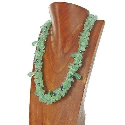 Fluorite Bead and Drop Necklace with Pearl