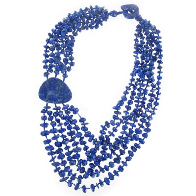 Lapis Beaded Necklace with 32x46mm Lapis Station