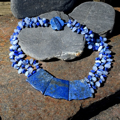 Lapis & Blue Chalcedony Beads Neckalce with Lapis Trapezium Stations