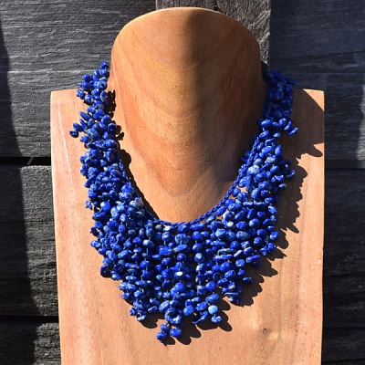 Free Flowing Lapis Tassel Necklace