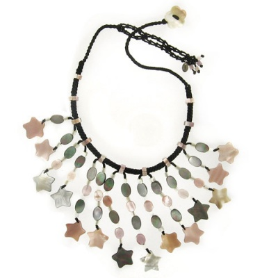 Pink and Black Rainbow Mother of Pear Shell Stars Necklace