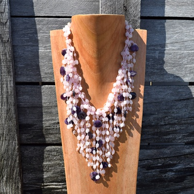 Rose Quartz and Pink Pearl Necklace with Amethyst Coins