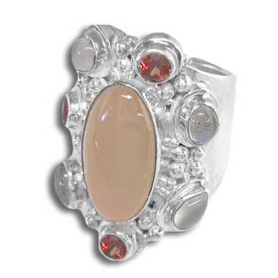 Peach Moonstone, Labradorite, Garnet and Moonstone Ring