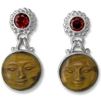 Tiger Eye Goddess Face Earrings with Garnet