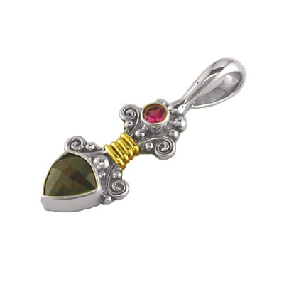 Sterling Silver Garnet, Pink Tourmaline, and Gold Wire Pendant