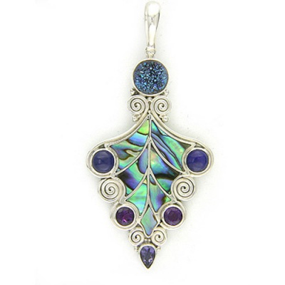 Paua Shell Pendant with Caribbean Druzy, Lapis, and Amethyst