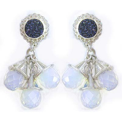 Caribbean Druzy and Opalite Drop Earrings