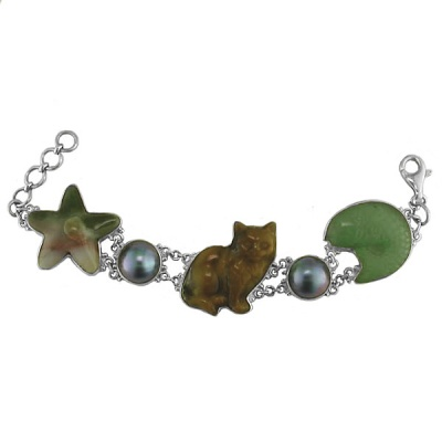 Cat, Star, and Fish Silver Bracelet