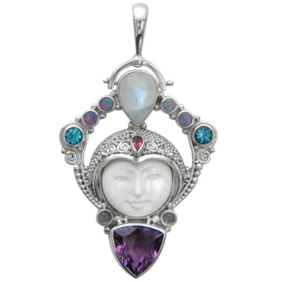 Goddess Pendant with Amethyst, Opal, and Rainbow Moonstone