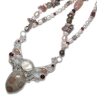Fossilized Coral Beaded Necklace