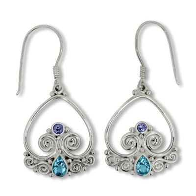 Handcrafted Sterling Silver Blue Topaz and Iolite Earring