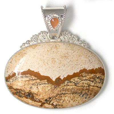 Picture Jasper Pendant with Pink Moonstone