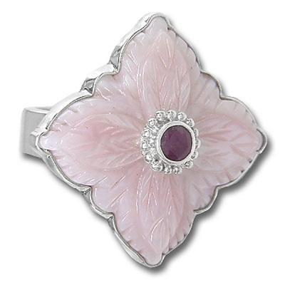 Pink Mother Of Pearl Flower with Ruby Ring