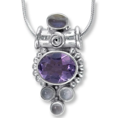 Amethyst, Rainbow Moonstone & Moonstone Pendant with Chain